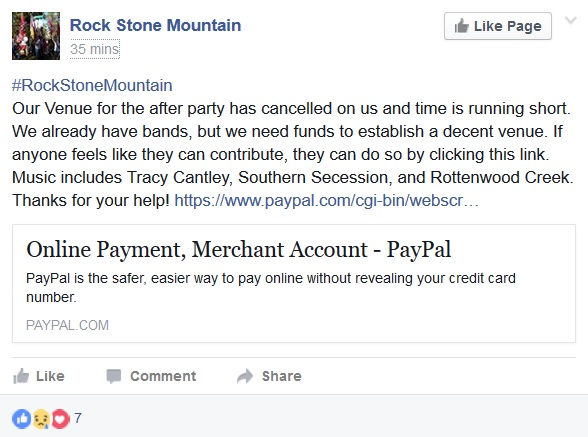 Rock Stone Mountain initial evening venue cancels