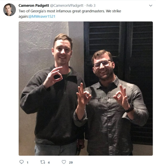 Cameron Padgett with Michael Carothers twitter posted Feb 3 2018